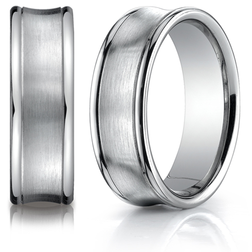 Platinum 7.5mm Concave Wedding Band with Rounded Edges