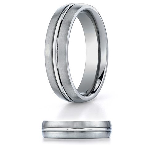 Titanium 6mm Wedding Band with Raised Center
