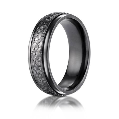 Black Titanium 7mm Hammered Finish Ring