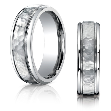 7mm Titanium Band with Hammered Finish