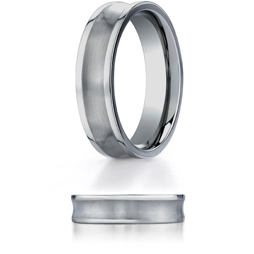 Titanium 6mm Concave Wedding Band with Satin Center