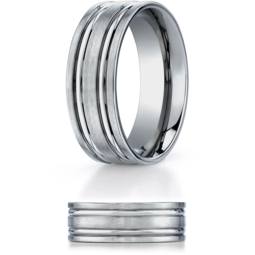 8mm Titanium Band with Polished Grooves