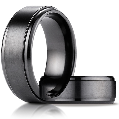 Black Titanium 9mm Satin-Finished Stair-Step Edge Ring