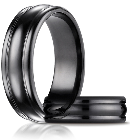 Black Titanium 7.5mm Comfort-Fit High Polished Ring