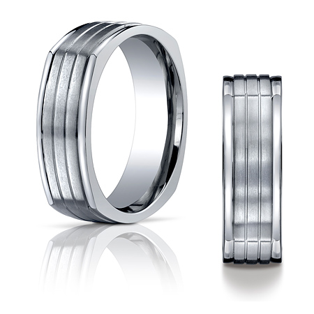 7mm Four-Sided Titanium Band with Grooves