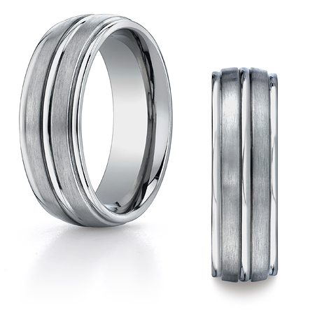 8mm Titanium Wedding Band with Raised Center and Rounded Edges