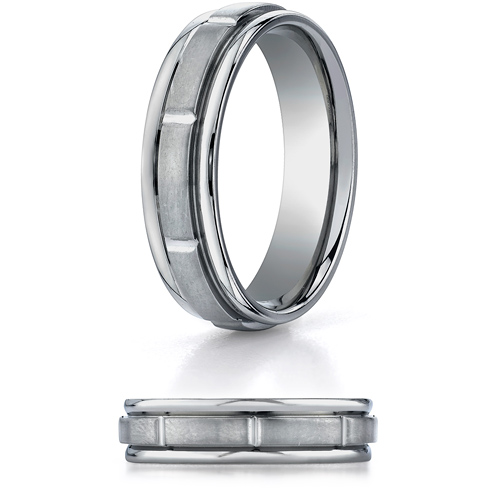 6mm Titanium Wedding Band with Brushed Center & Rounded Edges