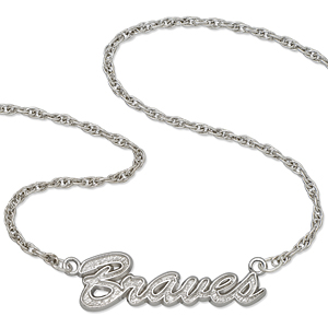 Atlanta Braves 18in Sterling Silver Script Necklace
