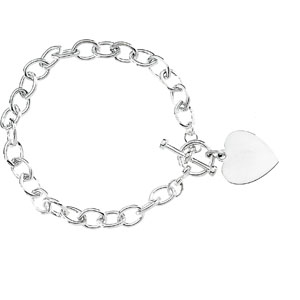8in Cable Bracelet with Toggle Clasp & Heart Charm