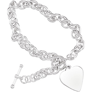Sterling Silver 8in Cable Bracelet with Engravable Heart