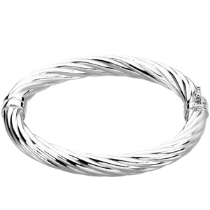 Sterling Silver Hinged Bangle Bracelet with Woven Texture 7in