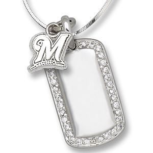 Sterling Silver Milwaukee Brewers Mini Dog Tag Necklace