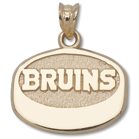 14kt Yellow Gold Boston Bruins Puck Pendant