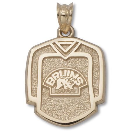 10kt Yellow Gold 5/8in Boston Bruins Jersey with Bear Pendant