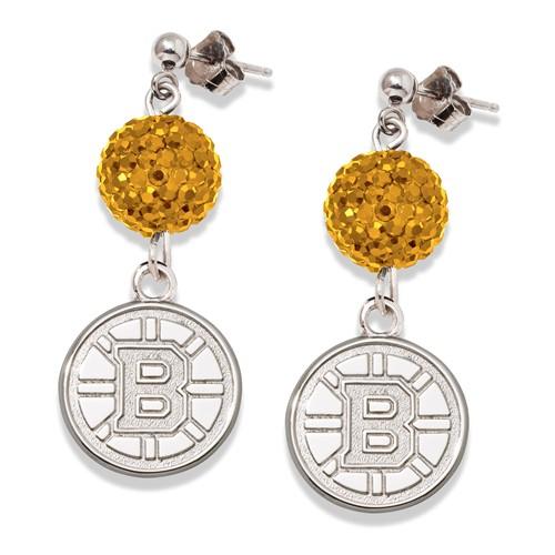 Sterling Silver Boston Bruins Crystal Ovation Earrings