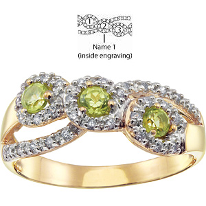 Brocade Mother's Ring 10kt Yellow Gold