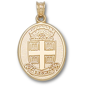 10kt Yellow Gold 3/4in Brown University Seal Pendant