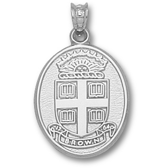Sterling Silver 3/4in Brown University Seal Pendant
