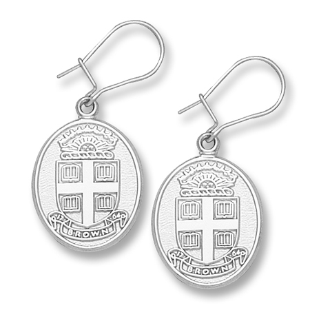 Sterling Silver Brown University Seal Dangle Earrings