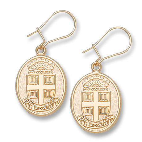 10kt Yellow Gold Brown University Seal Dangle Earrings