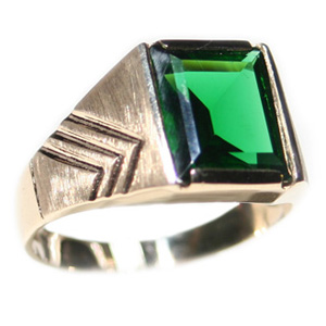 10kt Yellow Gold 10mm Synthetic Emerald Ring