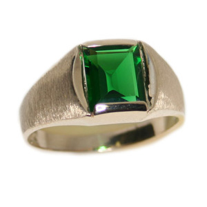 10kt Yellow Gold 6mm Square Synthetic Emerald Ring