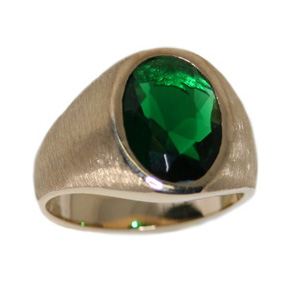 Brushed Ring with Synthetic Emerald - 10kt Yellow Gold