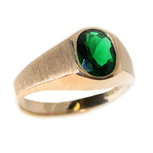 10kt Yellow Gold Brushed Ring with 8mm x 6mm Synthetic Emerald