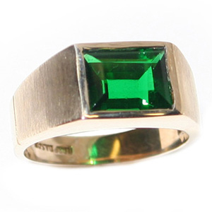 10kt Yellow Gold Brushed Ring with 10mm x 8mm Synthetic Emerald