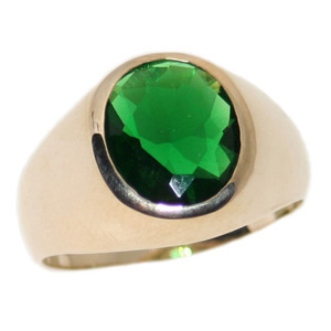 10kt Yellow Gold 9mm Synthetic Emerald Ring