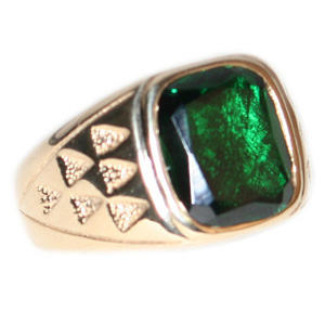 10kt Yellow Gold 12mm x 12mm Synthetic Emerald Ring