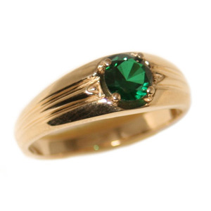 10kt Yellow Gold 6mm Round Synthetic Emerald Ring