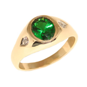 10kt Yellow Gold 8mm x 6mm Synthetic Oval Emerald Ring with Diamonds