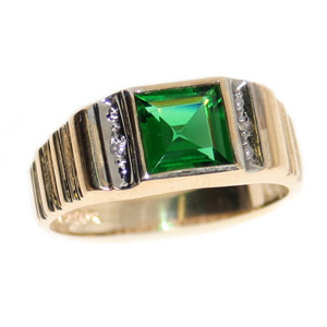 10kt Yellow Gold Ring with 8mm Square Synthetic Emerald and Diamonds
