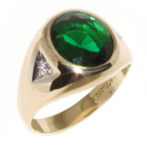 10kt Yellow Gold Synthetic Emerald and Diamond Ring