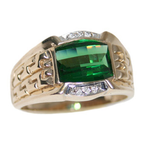 10kt Yellow Gold Barrel Synthetic Emerald Ring with Diamonds