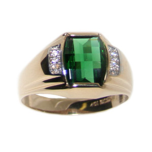 10kt Yellow Gold 10mm x 8mm Synthetic Emerald and Diamonds Ring