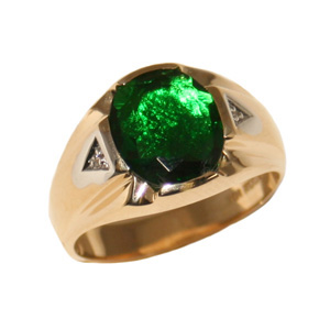 10kt Yellow Gold Oval Synthetic Emerald Ring with Diamonds