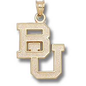 14kt Yellow Gold 3/4in Baylor University BU Pendant