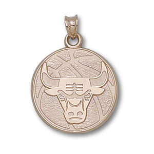 10kt Gold 3/4in Chicago Bulls Basketball Pendant