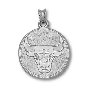 Sterling Silver 3/4in Chicago Bulls Basketball Pendant
