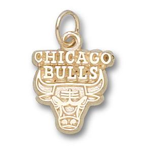 14kt Yellow Gold 3/8in Chicago Bulls Logo Pendant