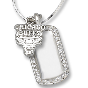 Sterling Silver Chicago Bulls Mini Dog Tag Necklace