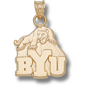 10kt Yellow Gold 5/8in BYU Cougar Pendant