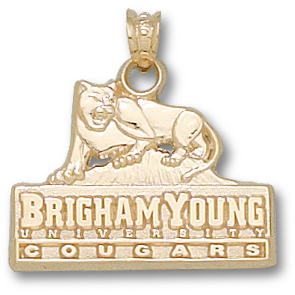 10kt Yellow Gold 5/8in BYU Cougars Logo Pendant