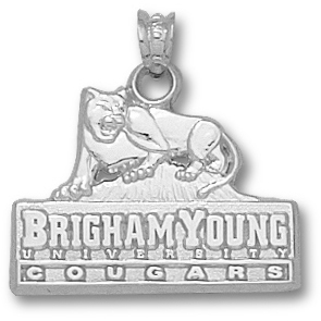 Sterling Silver 5/8in BYU Cougars Logo Pendant