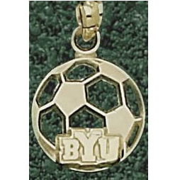 14kt Yellow Gold 1/2in BYU Soccer Pendant