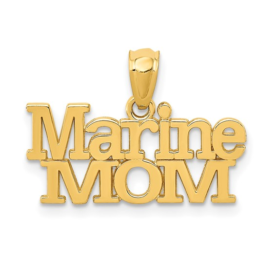 14kt Yellow Gold 3/8in Marine Mom Pendant