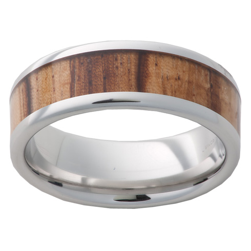 Cobalt Chrome Ring 8mm with Zebra Wood Inlay