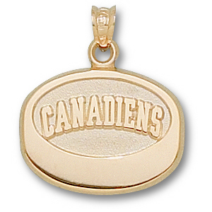 14kt Yellow Gold 5/8in Montreal Canadiens Puck Pendant